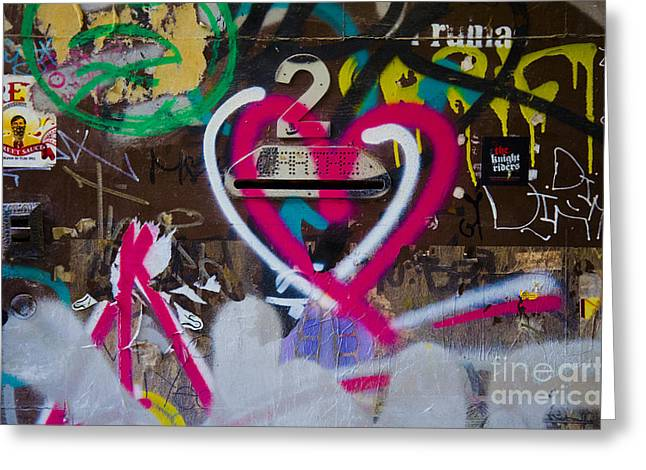 First Love Greeting Cards - Graffiti Heart Greeting Card by Victoria Herrera