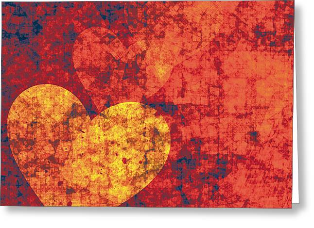 Red Digital Art Greeting Cards - Graffiti Hearts Greeting Card by Jeanette Charlebois