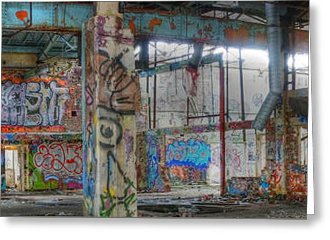 Graffiti Heaven Panorama Greeting Card by David Birchall