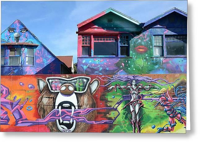 Graffiti House Greeting Card by Fraida Gutovich