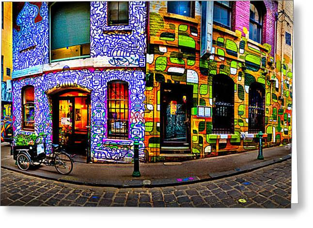 Cobblestone Greeting Cards - Graffiti Lane   Greeting Card by Az Jackson