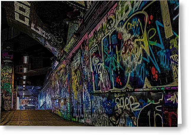 Streetphotography Greeting Cards - Graffiti Leake Street London Greeting Card by Martin Newman