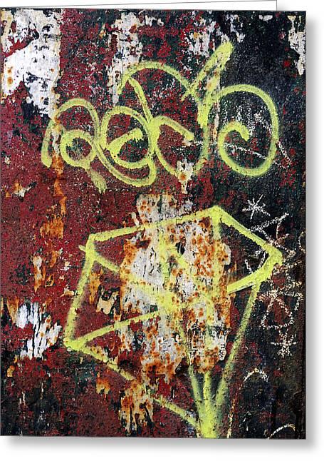 Norman Pogson Greeting Cards - Graffiti On Rusted Door Greeting Card by Norman Pogson