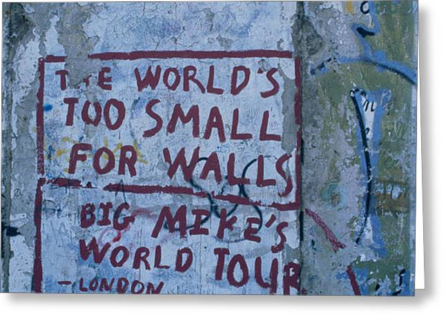 Western Script Greeting Cards - Graffiti On A Wall, Berlin Wall Greeting Card by Panoramic Images