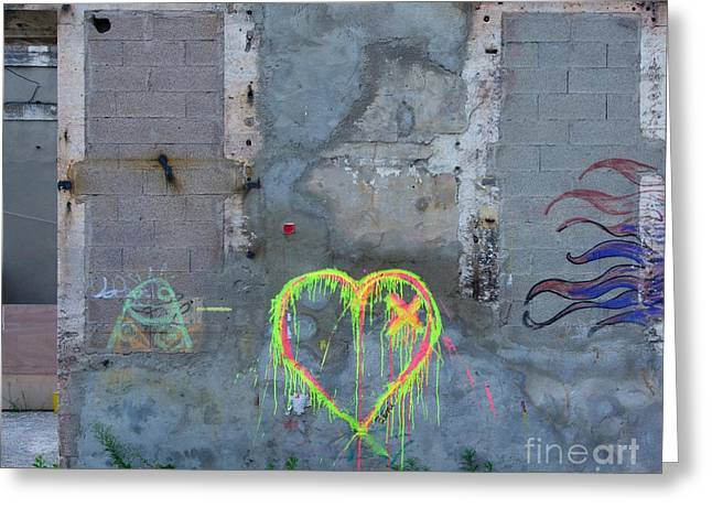Painted Walls Greeting Cards - Graffiti on a wall damaged. France. Europe. Greeting Card by Bernard Jaubert