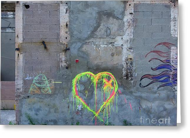 Delapidated Greeting Cards - Graffiti on a wall damaged. France. Europe. Greeting Card by Bernard Jaubert