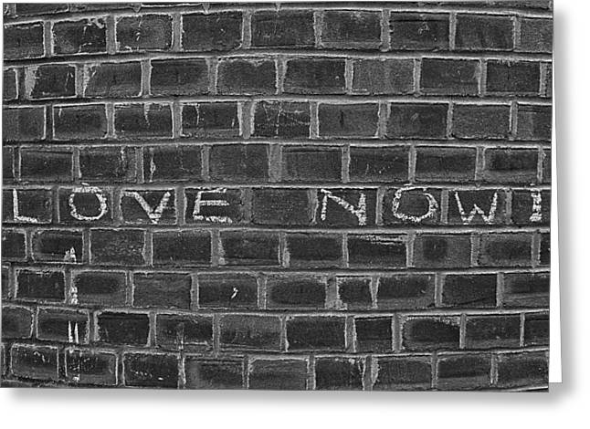 Black And White Reliefs Greeting Cards - Graffiti on Curved Brick Wall Greeting Card by Robert Ullmann