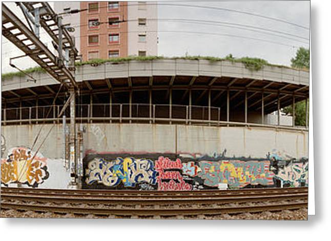 Fish Eye Lens Greeting Cards - Graffiti On The Wall Along A Railroad Greeting Card by Panoramic Images