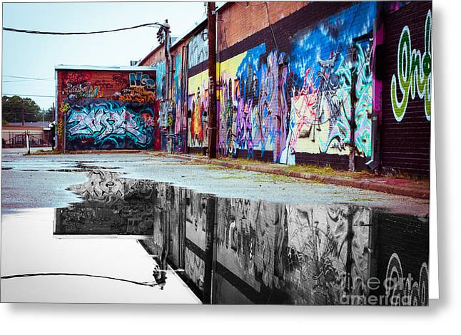Spray Paint Art Greeting Cards - Graffiti Reflection Greeting Card by Sonja Quintero
