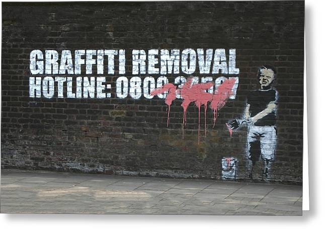 Political Satire Greeting Cards - Graffiti Removal Hotline Greeting Card by A Rey
