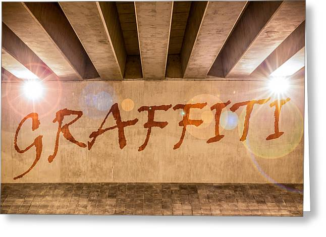 Highway Lights Greeting Cards - Graffiti Greeting Card by Semmick Photo