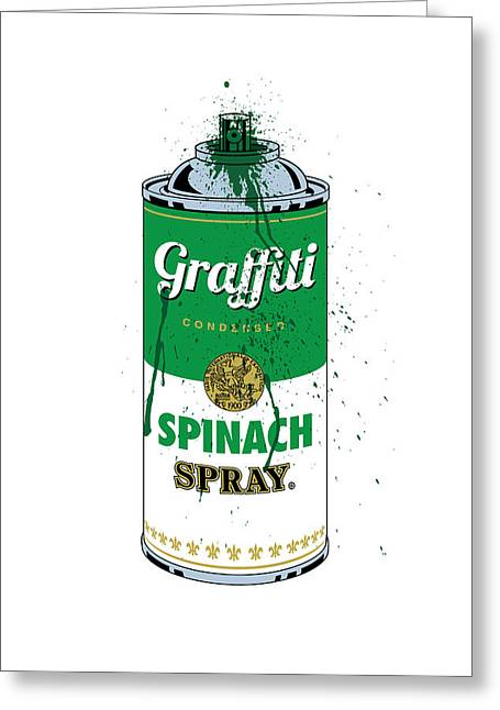 Pop Can Greeting Cards - Graffiti Spinach Spray Can Greeting Card by Gary Grayson