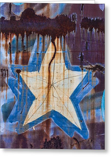 Rusted Cars Greeting Cards - Graffiti Star Greeting Card by Carol Leigh