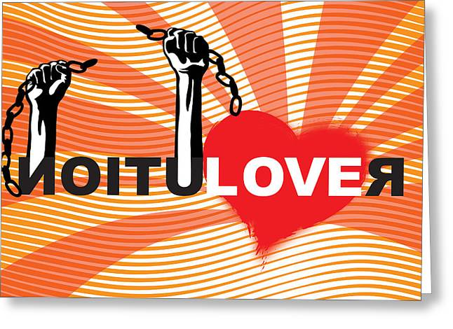 Fist Greeting Cards - Graffiti style illustration slogan Love Revolution Greeting Card by Sassan Filsoof