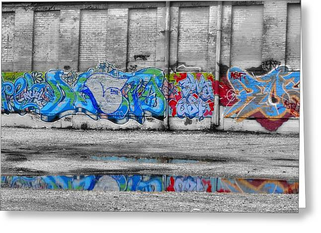 Puddle Paint Greeting Cards - Graffiti Work Downtown Reflection Greeting Card by Dan Sproul