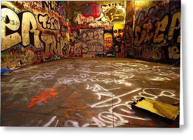 Wall Street Greeting Cards - Grafitti Overflow Greeting Card by Gianfranco Weiss