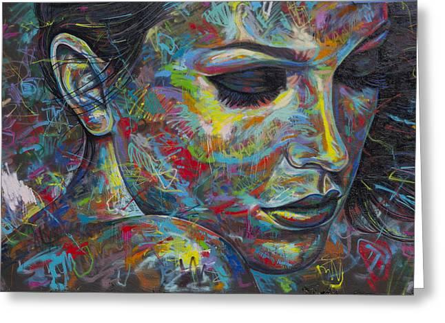 Grafitti Portrait Greeting Card by Austin Whisnant