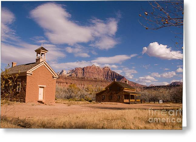 Geobob Greeting Cards - Grafton Ghost Town and Approaching Winter Storm Rockville Utah Greeting Card by Robert Ford