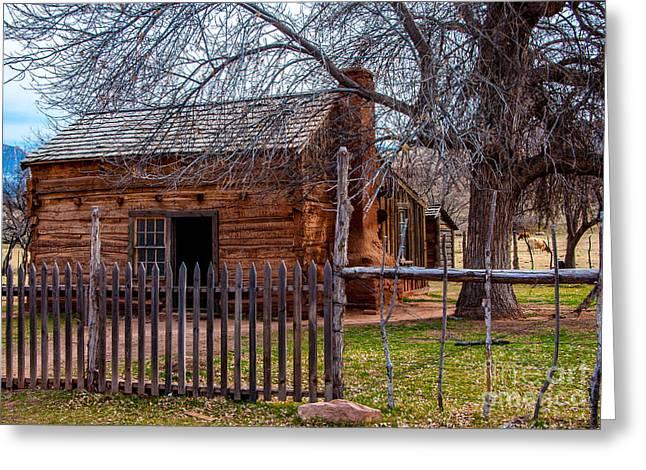 Grafton Greeting Cards - Grafton Ghost Town Log Cabin - Utah Greeting Card by Gary Whitton