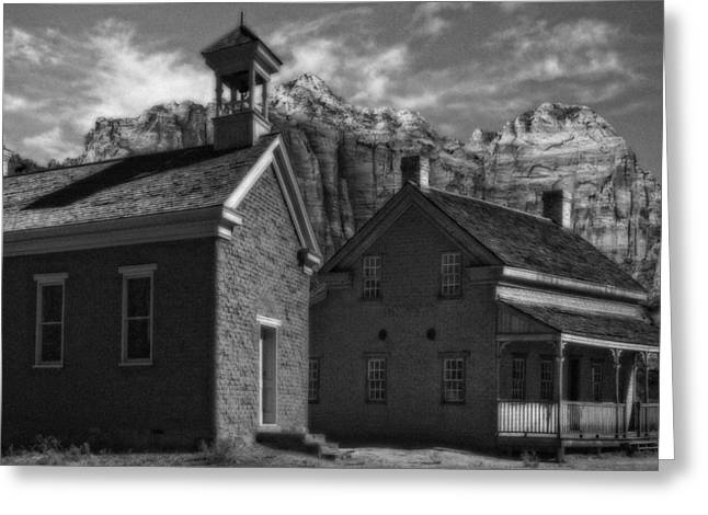 Abandoned School House. Greeting Cards - Grafton Ghost Town Utah Greeting Card by Utah Images
