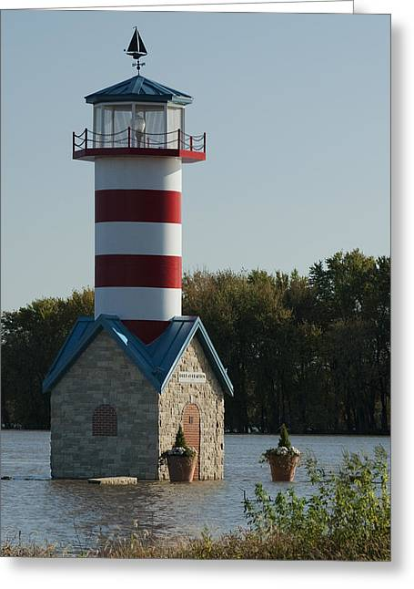 River Flooding Greeting Cards - Grafton IL lighthouse IMG 9448 Greeting Card by Greg Kluempers