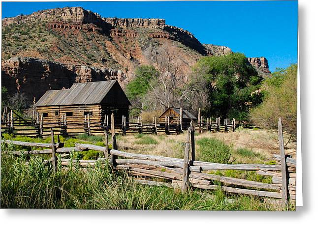Geobob Greeting Cards - Grafton Log Barn and Fences Rockville Utah Greeting Card by Robert Ford