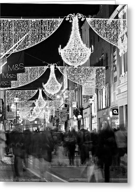 Movement. Blur Greeting Cards - Grafton Street at Christmas / Dublin Greeting Card by Barry O Carroll