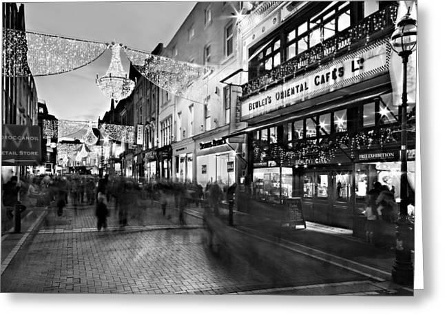 Night Cafe Greeting Cards - Grafton Street at Night / Dublin Greeting Card by Barry O Carroll