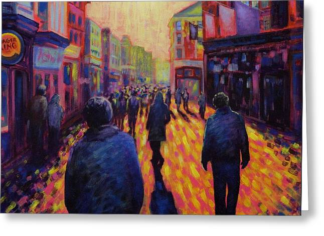 Night Scenes Greeting Cards - Grafton Street Dublin Greeting Card by John  Nolan