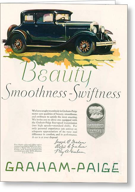 American Automobiles Greeting Cards - Graham Paige 1929 1920s Usa Cc Cars Greeting Card by The Advertising Archives