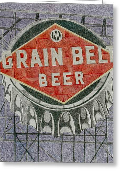 Bottle Cap Drawings Greeting Cards - Grain Belt Beer Greeting Card by Glenda Zuckerman