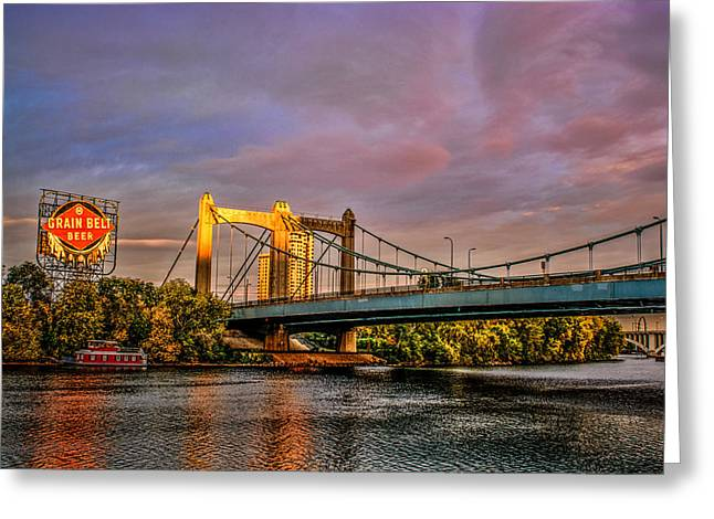 Hennepin Greeting Cards - Grain Belt Beer Sign and Hennepin Avenue Bridge Greeting Card by Bradley Gross