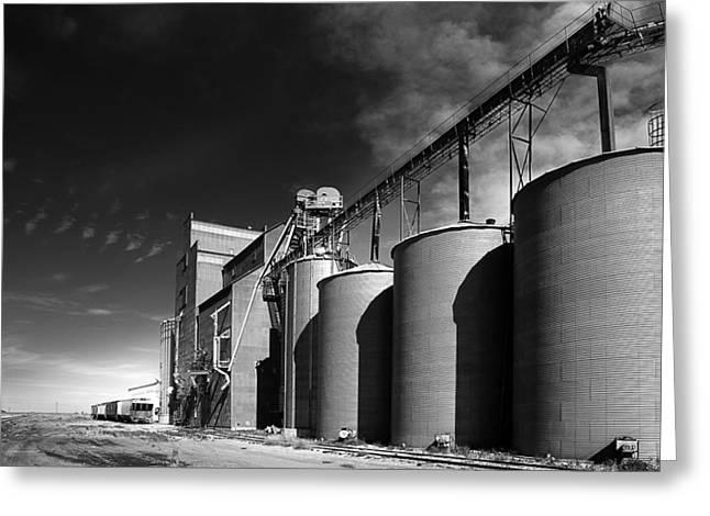 Prairie Sky Art Greeting Cards - Grain Elevator Complex on Prairie Greeting Card by Donald  Erickson