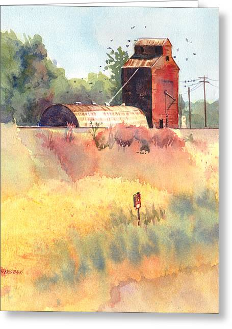 Montana Artist Greeting Cards - Grain Elevator Greeting Card by Kris Parins