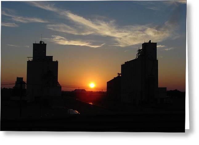 Kansas Pyrography Greeting Cards - Grain Elevator Sunrise Greeting Card by Cary Amos