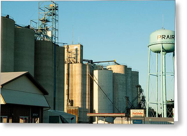 Geobob Greeting Cards - Grain Elevators Prairie City Iowa Greeting Card by Robert Ford