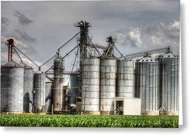 Outlook Greeting Cards - Grain Elevators Greeting Card by Roger Passman