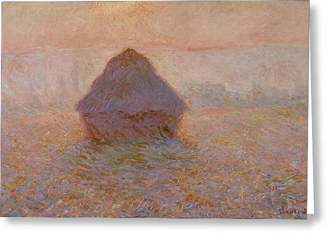 Haze Greeting Cards - Grainstack  Sun in the Mist Greeting Card by Claude Monet