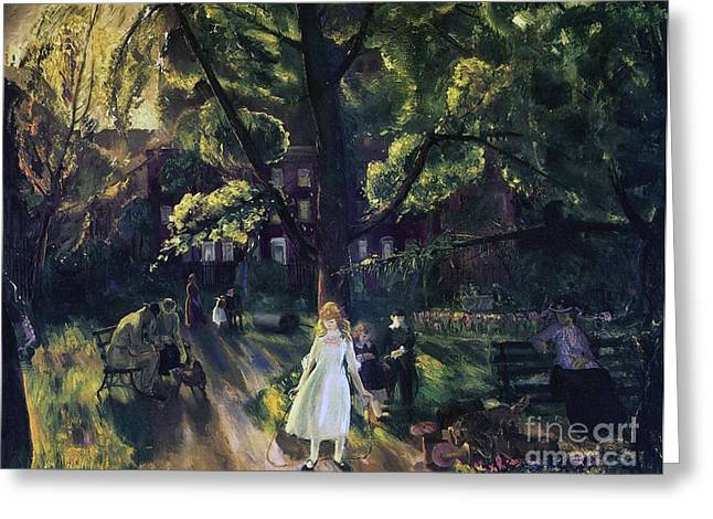 Park Benches Paintings Greeting Cards - Gramercy Park Greeting Card by George Wesley Bellows