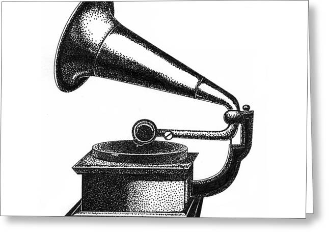 Pointillism Drawings Greeting Cards - Gramophone Greeting Card by Christy Beckwith
