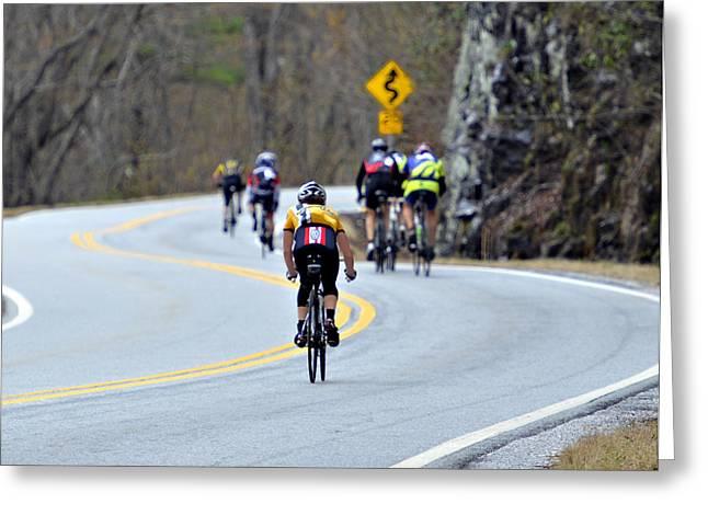 Gran Fondo Bike Ride Greeting Card by Susan Leggett