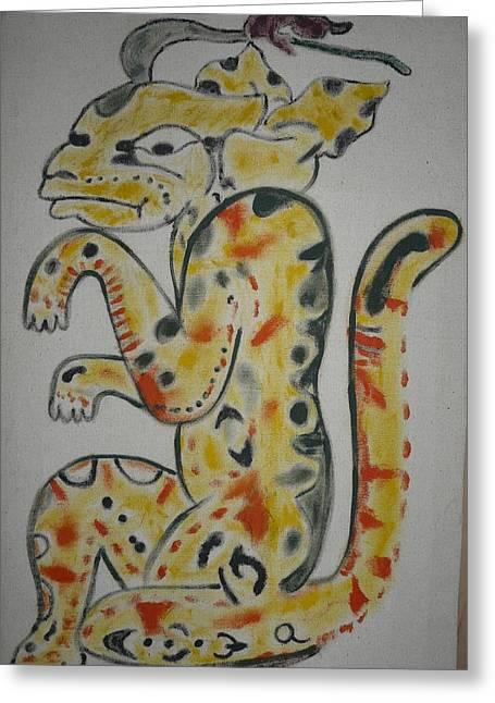 Mayan Mythology Greeting Cards - Gran Jaguar Greeting Card by Juan Francisco Zeledon