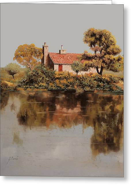 Lake Paintings Greeting Cards - Gran Riflesso Greeting Card by Guido Borelli