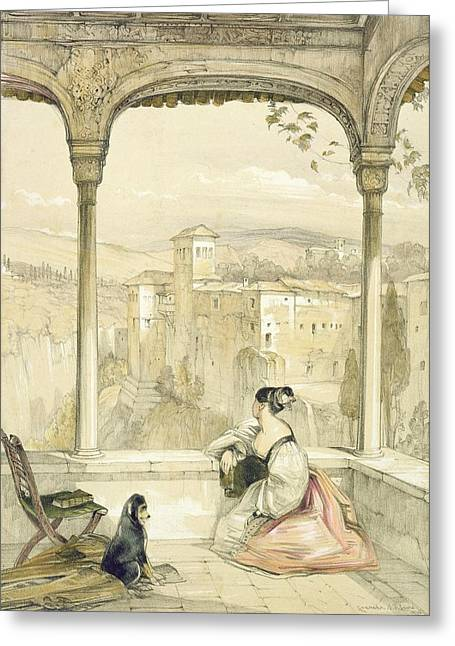 Arch Greeting Cards - Granada , Plate 9 From Sketches Greeting Card by John Frederick Lewis
