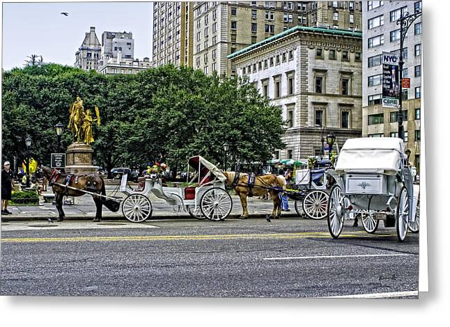 Hansom Greeting Cards - Grand Army Plaza - Manhattan Greeting Card by Madeline Ellis