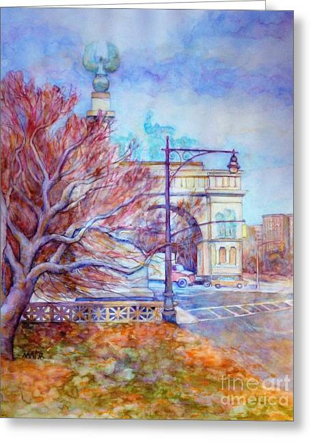 Park Scene Paintings Greeting Cards - Grand Army Plaza with Lamppost and Tree Greeting Card by Nancy Wait
