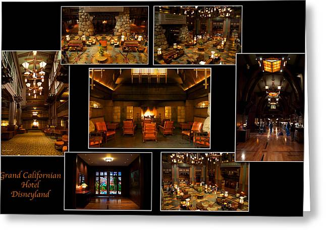 Mickey Mantle Prints Greeting Cards - Grand Californian Hotel Disneyland Black Collage Greeting Card by Thomas Woolworth