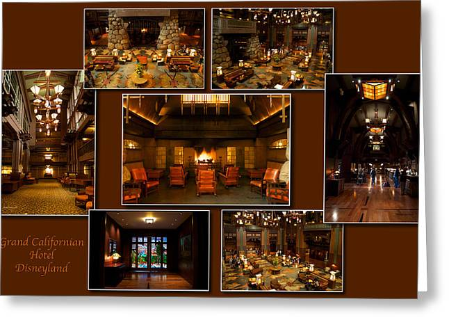 Mickey Mantle Prints Greeting Cards - Grand Californian Hotel Disneyland Brown Collage Greeting Card by Thomas Woolworth