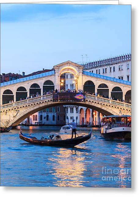 Gondolier Greeting Cards - Grand canal and Rialto bridge at dusk - Venice Greeting Card by Matteo Colombo