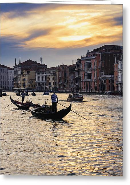 Boats On Water Greeting Cards - Grand Canal At Sunset Venice, Italy Greeting Card by Yves Marcoux